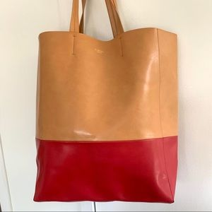 SORIAL Leather Color Block Tote Bag